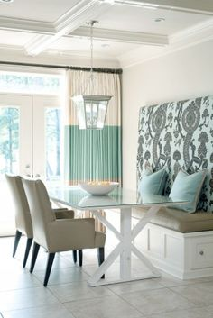 Coastal Chic- Love the upholstery work on Bench Back rest