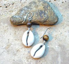 Cowrie Shell and Tiger Eye Bead Earrings by KipajiPraiseJewelry on Etsy