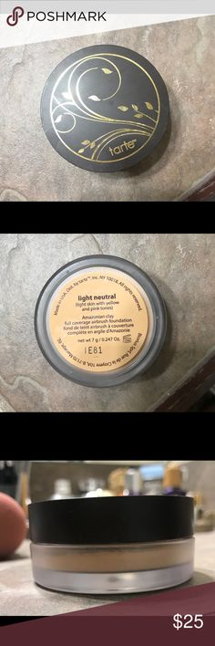 Tarte Amazonian Clay Powder Foundation Authentic Tarte Amazonian Clay fully coverage powder foundation in Light Neutral!! Used only a few times! Probably 80% left! Beautiful coverage and lightweight feel!! No box, has been opened so the sifter isn't covered. Sephora Makeup