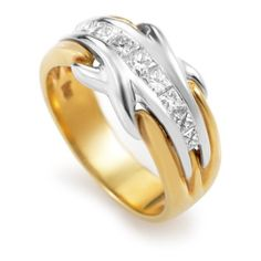 Pre-owned Damiani 18K Multi-Tone Gold Diamond Band Ring ($880) ❤ liked on Polyvore featuring jewelry, rings, gold band ring, diamond rings, band rings, gold diamond rings and pre owned diamond rings