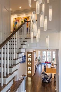 Modern chandelier lighting for foyer or high ceiling High Ceiling Lighting, Stairway Lighting, Entrance Lighting, Entrance Foyer, Entrance Ideas, Entry Hall, Grand Entrance, Entryway Chandelier, Chandelier Lighting