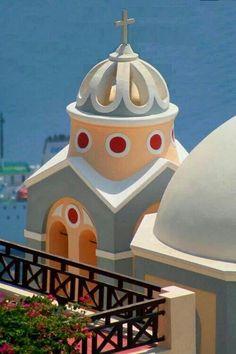 Colored church in  Santorini