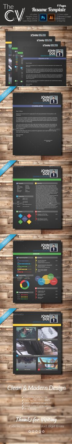Resume/Coverletter/Portfolio Pinterest Template, Professional