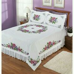 Discover thousands of images about Pansies - Stamped Cross Stitch Queen Bed Quilts, Queen Beds, Quilt Bedding, Bedding Sets, Bed Cover Design, Designer Bed Sheets, Crochet Bedspread, Cross Stitch Flowers, Stitch Kit