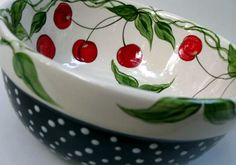 Cherry Toss by poppyhousepottery on Etsy Cherry Farm, Cherry Cherry, Cherry Blossom, Ceramic Plates, Porcelain Ceramics, Cherry Delight, Pottery Painting Designs, Color Me Mine, Cherries Jubilee