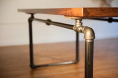 Industrial Black Walnut Table with Pipe Base by MichaelAmaral, $3500.00
