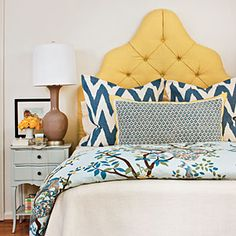 Classic Blue & Yellow Bedroom    A classic palette of blue and yellow gets a punchy modern update in this bedroom makeover, filled with fresh ideas for budget decorating. Guide: Master Bedrooms | Classic Blue & Yellow Bedroom | SouthernLiving.com