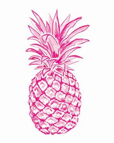 An 8x10 print of an original watercolor and ink Pineapple Illustration by Laura Dro. Each print is signed by artist and shipped directly by artist. Frame not included.