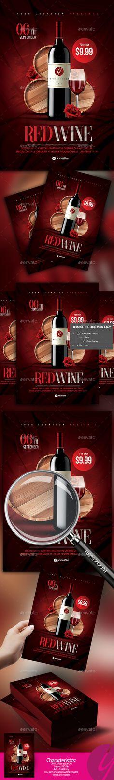 Red Wine Flyer - #Restaurant Flyers Download here:  https://graphicriver.net/item/red-wine-flyer/20032037?ref=alena994