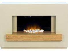 Adam Sambro Fireplace Suite in Stone Effect with Oak Shelf, 46 Inch | Fireplace World