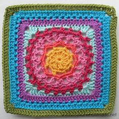 """Mandala Square {Photo Tutorial} - Block 20: Block-a-week CAL 2014 - with link to the free 12"""" square pattern by Chris Simon."""