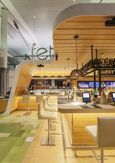 2014 ARE Design Awards, Grand Prize, Restaurant/Casual Dining Fetta Panini Bar, Toronto, ON Kiosk Design, Retail Design, Store Design, Wooden Canopy Bed, Patio Canopy, Airport Design, Wood Steel, Airport Food, Restaurant Design