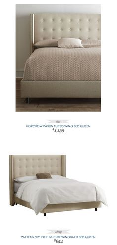 #CopyCatChicFind #Horchow Parlin Tufted Wing Bed $1139 - vs - #Wayfair #Skyline Tufted Upholstered Bed $654