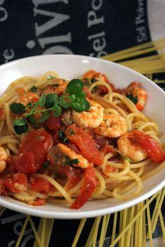 Spaghetti with Tomato, Prawn, and Watercress.