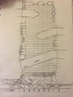 Sketch of Prada Aoyama : showing the negative space in the building (the oblique circulation) + the curvy façade because of the concave and convex glass 'bubbles'
