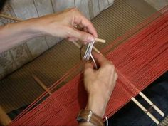 My tutorial with step-by-step photos on making continuous string heddles on a stick can be seen here. My video on this: Making simple heddles on a narrow warp can be seen in step-by-step photos here. Inkle Weaving, Inkle Loom, Card Weaving, Tablet Weaving, Finger Weaving, Art Du Fil, Fabric Strips, Tapestry Weaving, Weaving Techniques