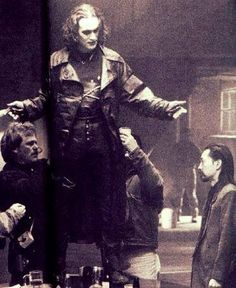 Brandon Lee with Jeff Imada, on the set of The Crow!  One hell of a fight choreography team!