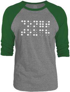 Big Texas Dont Touch Braille (White) 3/4-Sleeve Raglan Baseball T-Shirt