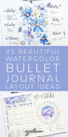 Bullet Journal Books, Bullet Journal Spread, Bullet Journal Layout, Bullet Journal Inspiration, Book Journal, Journal Ideas, Watercolor Tips, Watercolor Painting Techniques, Calendar Journal