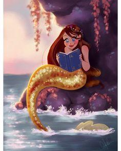 Ilustraciones de las princesas de Disney en cuentos diferentes - VIX Mermaid Cove, Mermaid Fairy, Cute Mermaid, The Little Mermaid, Real Mermaids, Mermaids And Mermen, Fantasy Creatures, Mythical Creatures, Mermaid Drawings