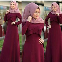 Purple and red are in colour Hijab Gown, Hijab Dress Party, Islamic Fashion, Muslim Fashion, Abaya Fashion, Fashion Dresses, Estilo Abaya, Modele Hijab, Hijab Fashionista