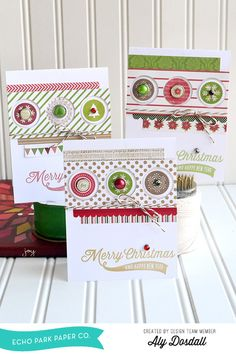 *Echo Park* Christmas Card Trio - Scrapbook.com - Pretty trio of Christmas cards made with Echo Park's Home for the Holiday's collection.