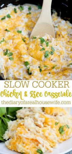 The easiest dinner recipe. I love this simple Slow Cooker Chicken and Rice Casserole.
