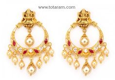 22 Karat Gold 'Lakshmi' Drop Earrings (Chand Bali) With Cz , Color Stones & Pearls Sea Glass Jewelry, Gold Jewelry, Beaded Jewelry, Jewellery Earrings, Jewelry Sets, Jewelry Stores, Women Jewelry, Jewelry Making, Indian Gold Jewellery Design