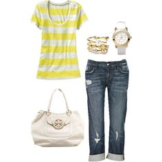 Like this outfit combination.  Love the white Tory Burch purse!!