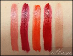 Rimmel Show Off Matte Lip Velvet Lacquer Swatches: 206 Atomic Rose, 307 Meteoric Matte, 405 Orange-ology, 505 Burning Lava, 602 Apollo