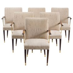 Set of Six Dining Chairs with Rosewood and Brass Details   See more antique and modern Dining Room Chairs at https://www.1stdibs.com/furniture/seating/dining-room-chairs