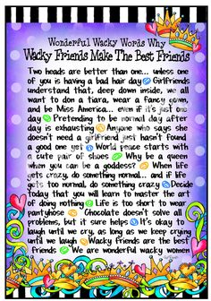 Wacky Best Friends – Gifty Art – Suzy Toronto: Gifts for Women Words Quotes, Wise Words, Life Quotes, Sayings, Friend Quotes, Funny Quotes, Suzy, Laughed Until We Cried, Great Quotes