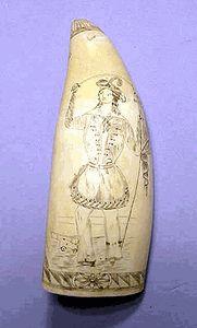 Rare antique scrimshaw tooth engraved with Fanny Campbell. Longhunter, Nantucket Baskets, Powder Horn, Pirate Woman, Primitive Folk Art, Ivoire, Whales, Rare Antique, Primitives