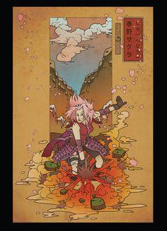 Sakura Woodblock -postcard print-