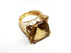 Gold Ring with Citrine via Gems' Investors. Click on the image to see more!