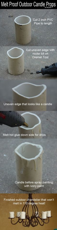 Outside Candle Props that won't melt.  From My Front Porch To Yours: Pinterest Loving