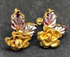Vintage Rose Blossom Earrings  Screw Back Gold Tone Flower #Unbranded #ScrewBack
