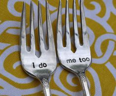 Dessert tasting fork set from Etsy - so freaking cute! & the lady who does them stamps your wedding date on the handles. Only $3!