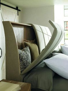 Storage headboard is a great idea! We always toss our pillows on the floor or on top of the dresser - would be so nice not to do that! Headboard with storage for throw pillows His and Hers : Naturally Casual : Beds : Caracole Furniture, Bedroom Furniture, Diy Furniture, Furniture Design, Furniture Storage, Home Bedroom, Bedroom Decor, Bedroom Ideas, Master Bedroom