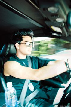 Pretty sure I'd crash my car if I looked over and saw this gorgeous hunk of a man next to me!!! GLAMBERT 4-EVER!!!