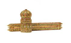 Pen Case and Inkwell (davat-i daulat) Object Name: Ink-set Date: 16th or 17th century or later Geography: Deccan or North India Medium: Gold, inlaid with diamonds, rubies, and emeralds Dimensions: Pen case: H. 1 5/8 in. (4 cm) W. 12 1/8 in. (30.6 cm) Inkwell: H. 4 1/2 in. (11.4 cm) Diam. 2 1/8 in. (5.4 cm) Classification: Gold Credit Line: The Al-Thani Collection
