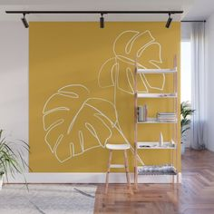 Monstera Minimal - Yellow Wall Mural by Gale Switzer - X Diy Wall, Wall Decor, Removable Wall Murals, Home Room Design, Graffiti, New House Plans, Yellow Walls, Wall Treatments, Eclectic Decor
