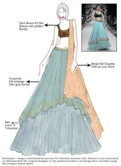 DIY Turquoise Silk Lehenga Choli