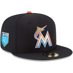 Men's Miami Marlins New Era Black Spring Training Collection Prolight 59FIFTY Fitted Hat