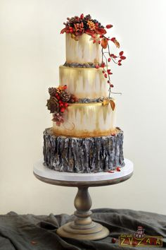 Rustic Autumn Wedding Cake by Nasa Mala Zavrzlama - http://cakesdecor.com/cakes/262896-rustic-autumn-wedding-cake