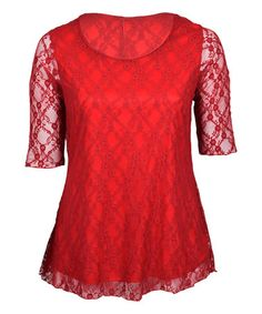 Look what I found on #zulily! Red Lace Three-Quarter Sleeve Tunic - Plus #zulilyfinds