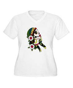 Take a look at the White Day of the Dead V-Neck Tee - Plus on #zulily today!