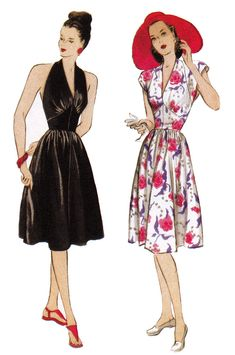 1940s Repro Vintage Sewing Pattern: Halter Dress. Butterick 5209