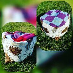 Puff hechos en patchwork y bordados con mostacillas y lentejuelas Scrappy Quilts, Ropa Vieja, Sequins, Facts, Plushies, Needlepoint