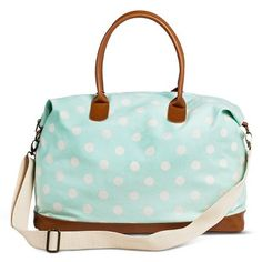 Women's Polka Dot Canvas Weekender Handbag - Mint - Mossimo Supply Co.� $34.99  This bag would be a great gift for people that travel, and things like that. It is adorable, and can be transformed into a shoulder bag.